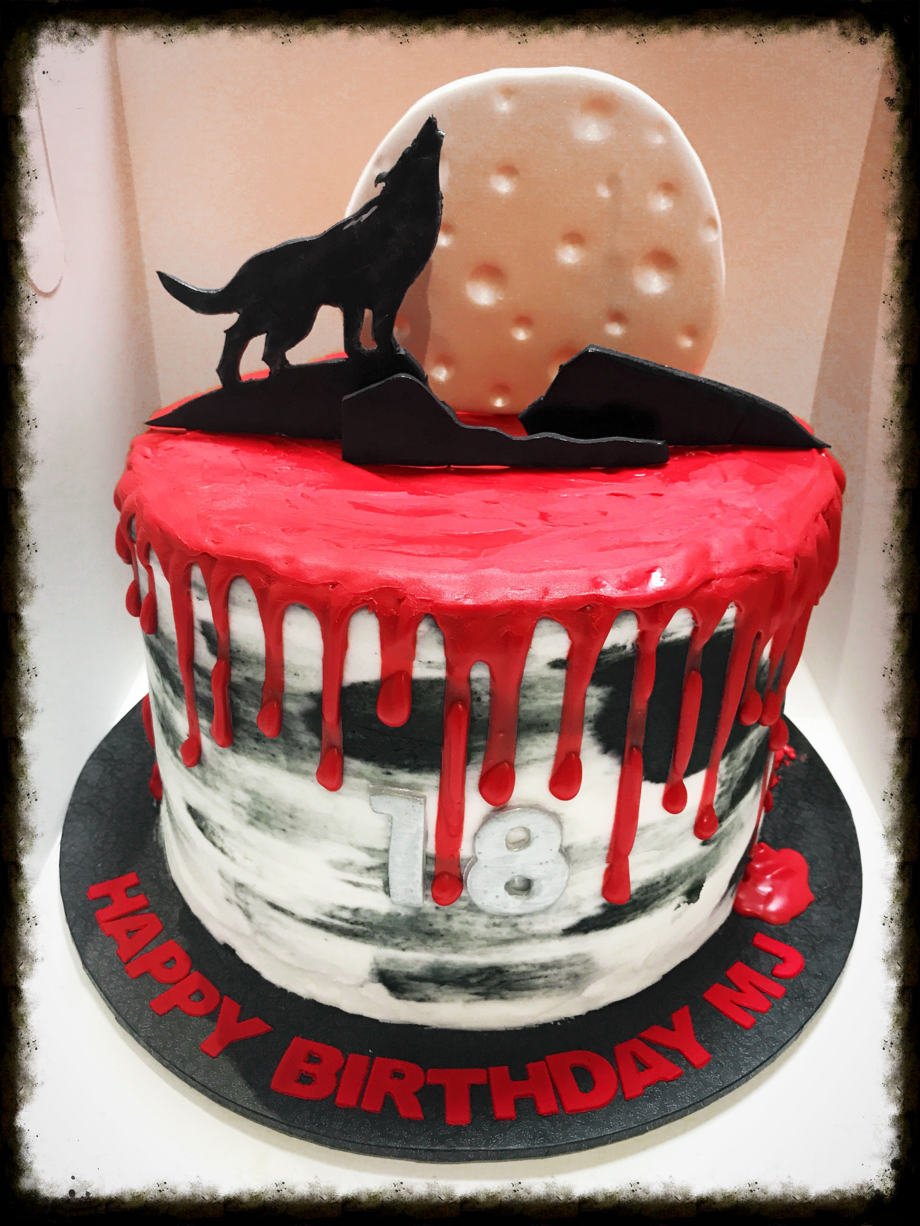 Halloween Wolf Howling Moon Cake With Red Ganache Drip And