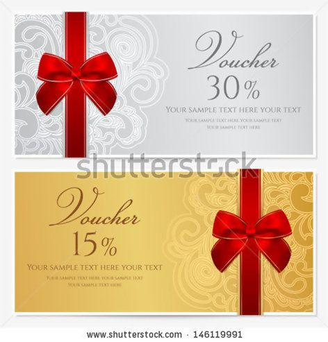 Voucher, Gift certificate, Coupon template with border, frame, bow - money voucher template