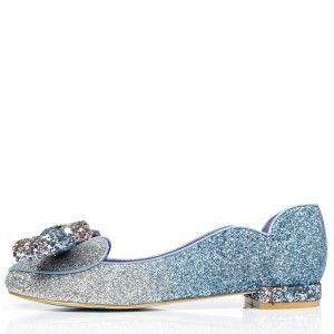 Irregular Choice I Cinderella 'A Glittering Entrance', blue,silver, LED ballerina flat