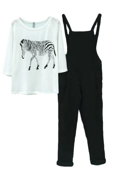 Zebra Print Round Neck 3/4 Sleeve Tee with Overalls
