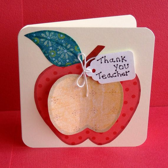 Thank You Teacher Apple Cards Set Of 4 Handmade Luxury Thank You