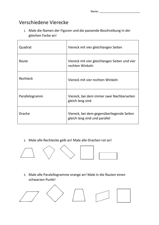 Verschiedene Vierecke Übungsblatt   Arbeitsblätter, Übungsblatt ...