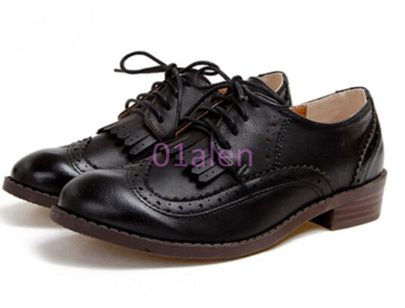 9ce0fba2ca71 Womens Lace Up Brogue Chic Heel Tassel Retro Punk Flat Oxford Casual Shoes  Retro