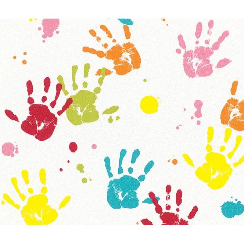 Kids Club Hand Print Wallpaper By Rasch 232103 Kids Wallpaper