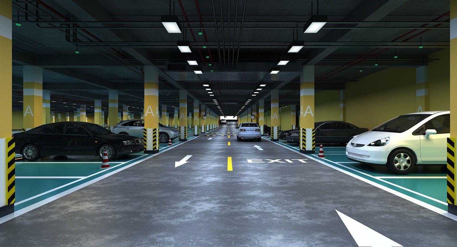 underground parking 3D model 3d model, Architecture