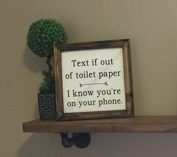 Photo of Text if out of TP Farmhouse Canvas Sign | Toilet Paper Sign | Funny Bathroom Sayings | Farmhouse Bat