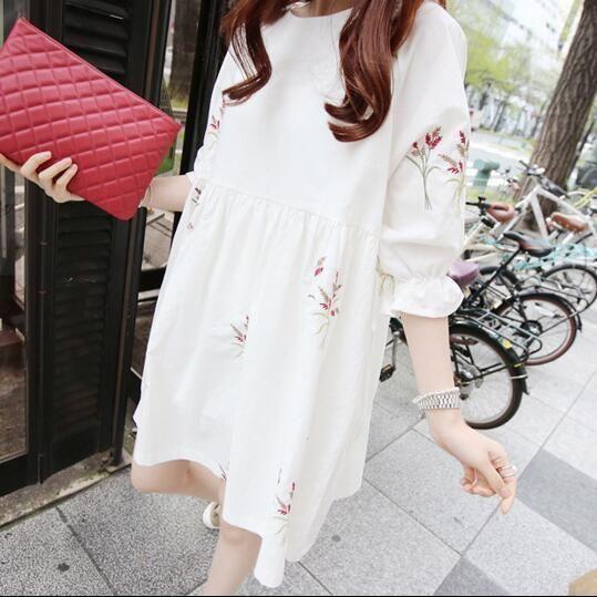 Korean Women Casual Cotton Linen Floral A Line Slim Loose Tunic Summer Dress