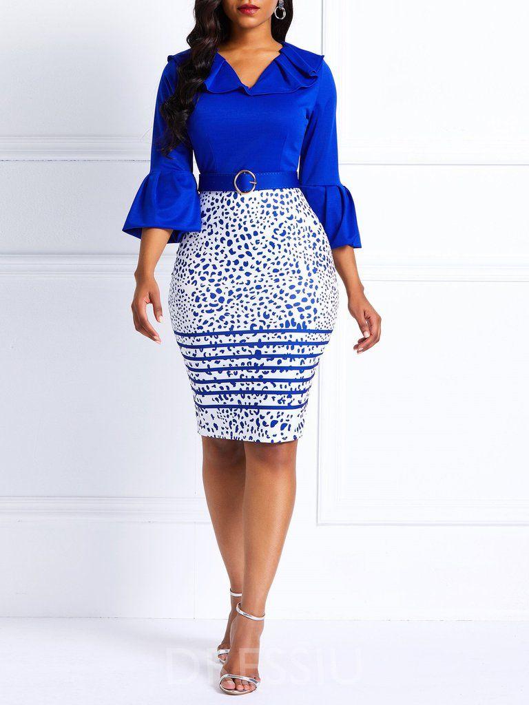 Womens Plus Size V Neck Flare Sleeve Print Dress Fashion Casual Knee Length Dress