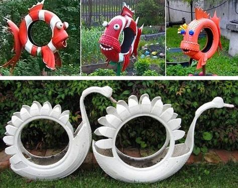 20 Garden Decorations and Kids Toys Made with Recycled Tires Abono - jardines con llantas