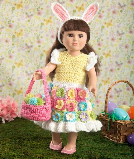 My Doll\'s Easter Frock Free Crochet Pattern in Red Heart Yarns | New ...