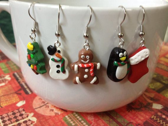 """Polymer Clay #Christmas #Earrings 3/4"""" Penguin, Snowman, Gingerbread, Stocking, or Tree on Etsy"""