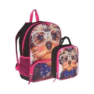 Details about Girls Book Bag Pink Puppy Dog