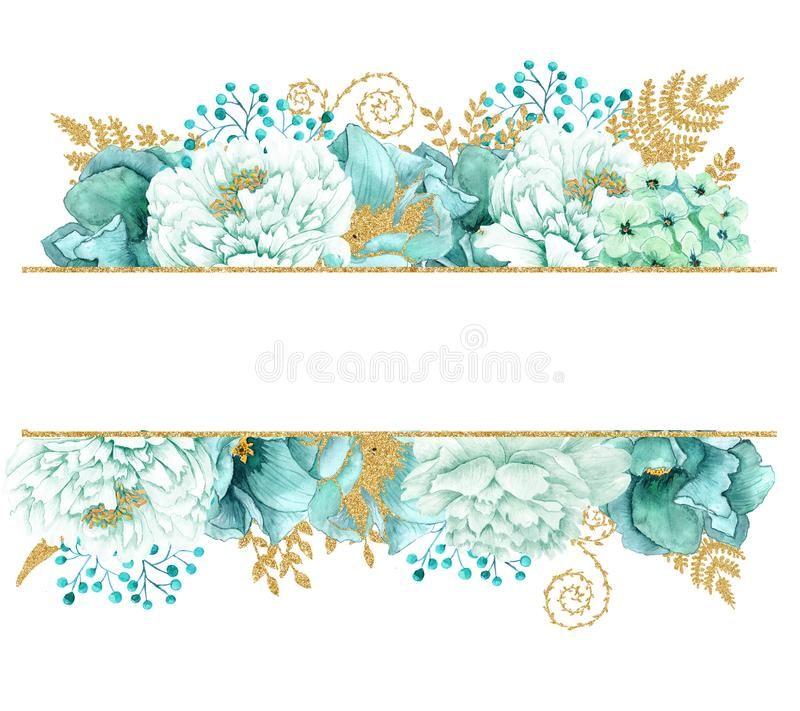 Beautiful Watercolor Mint Flowers Frame Mint Gold Wedding Invites Template Stock Illustrat Vintage Flowers Wallpaper Floral Illustrations Floral Border Design
