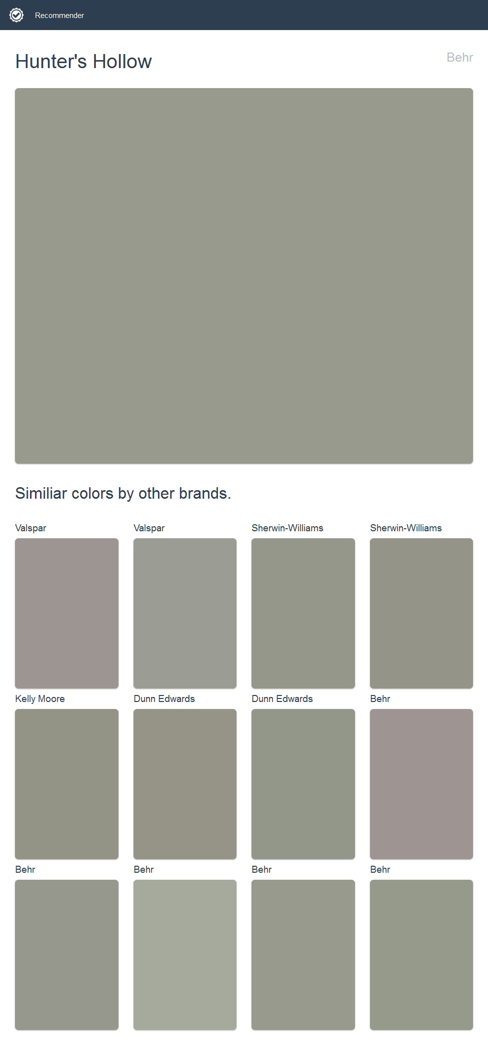 Hunteru0027s Hollow, Behr. Click The Image To See Similiar Colors By Other  Brands.