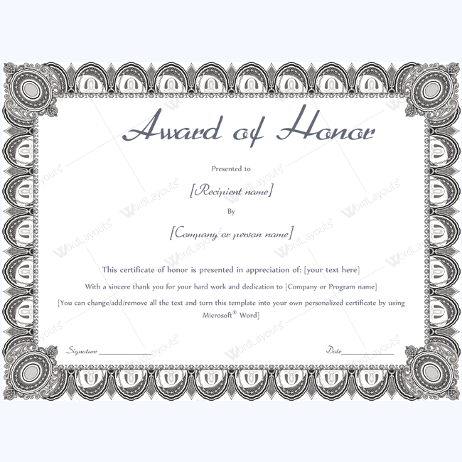 Award of honor (Formal Design) | MUZAMMIL | Pinterest | Certificate ...