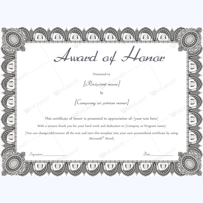 Award of honor certificate sample award awardtemplate award of honor certificate sample award awardtemplate honorawardtemplate yadclub Images