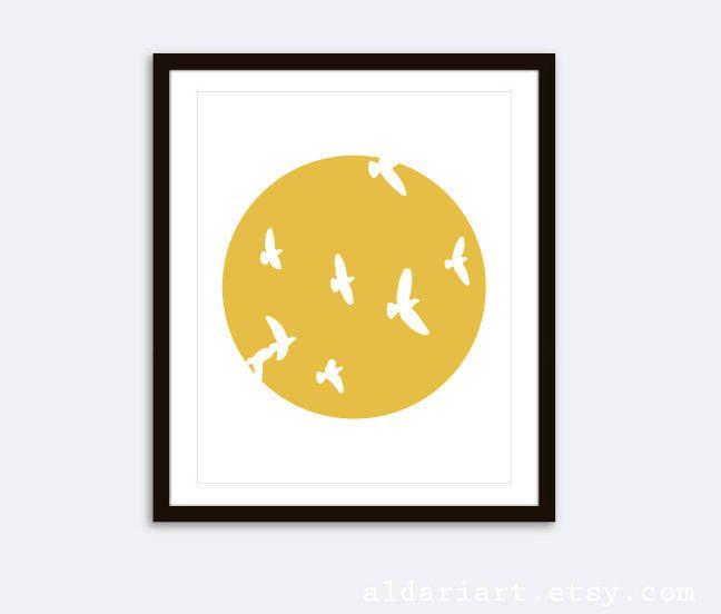 Birds Print - Birds Wall Art - Minimalist Wall Art - Modern Birds ...