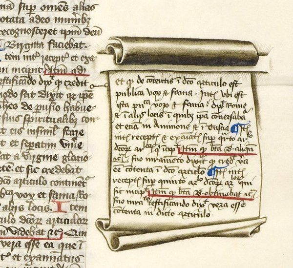 Great: scroll drawn in margin, attached to page with two incisions - example of trompe-l'oeil (BLHarley 612).