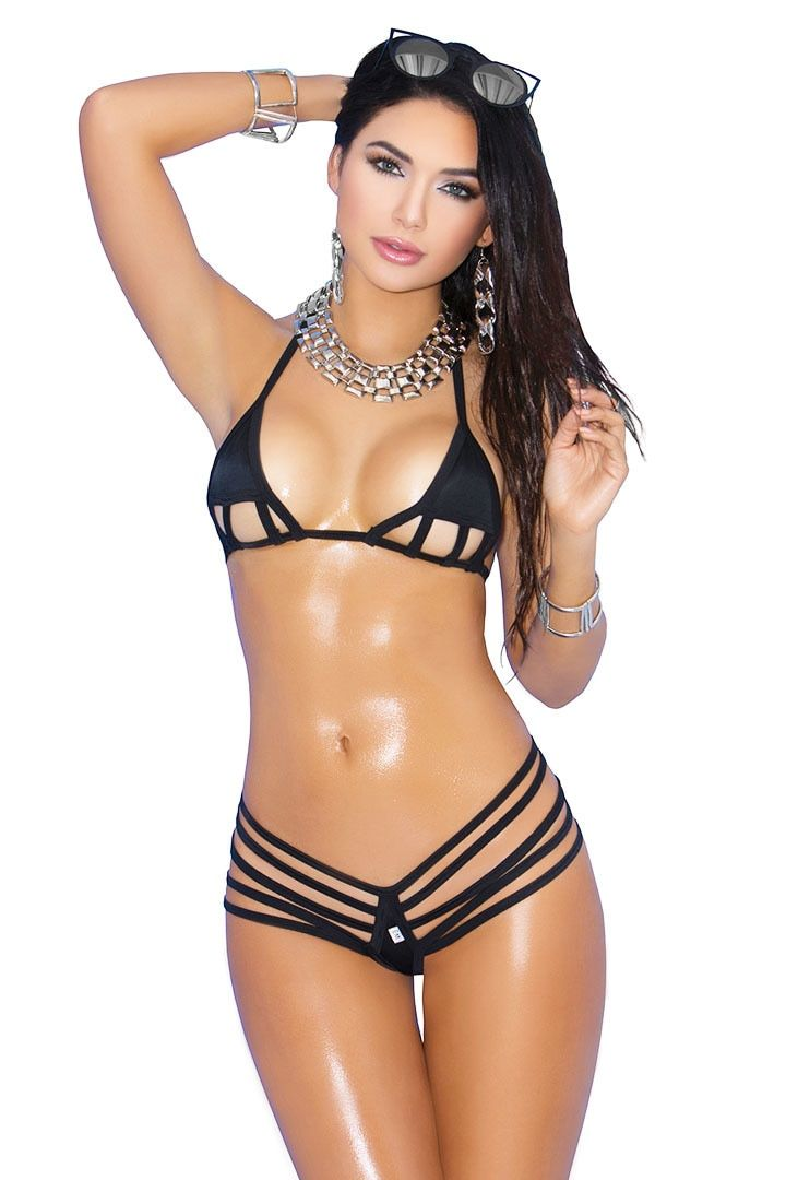 ba777a6615c Women's Black Strappy Micro Bikini. Look stunning when you wear this black micro  bikini microkini with multi strap g string bikini bottoms and a strappy ...