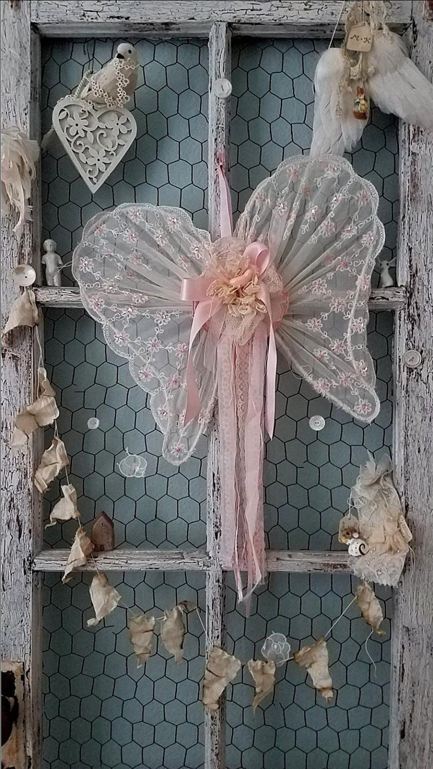 Pink Lace Angel Wings, Shabby Chic, Wedding Prop, Brides Chair Sign, Ring Pillow Alternative, Flower Girl, Nursery Accent, Baby Shower Decor