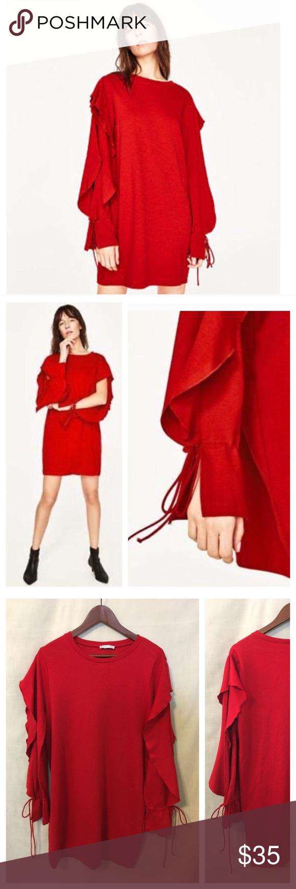 Zara red open ruffle long sleeve knit dress large in my posh