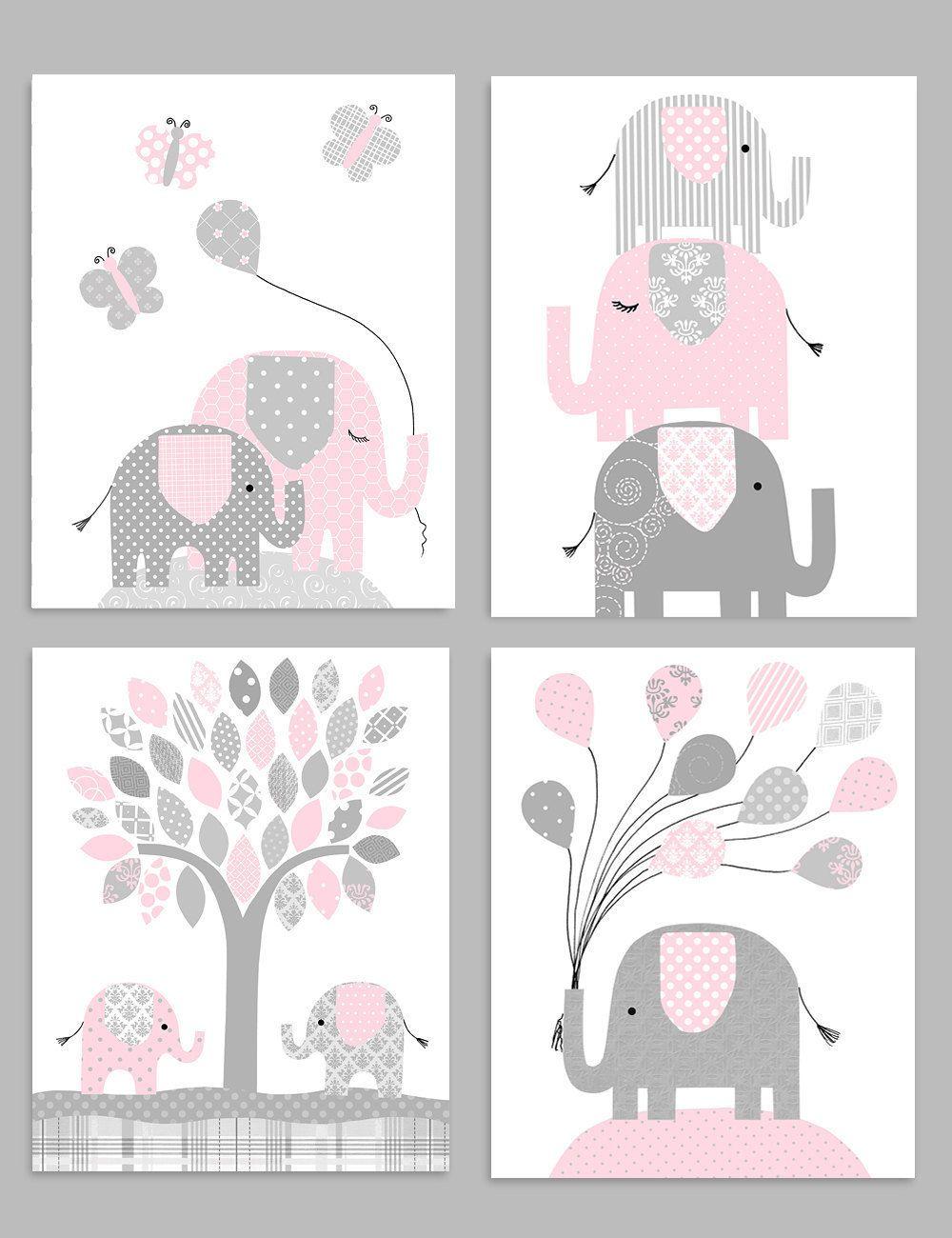 Elephant Nursery Decor Gray And Pink Zoo