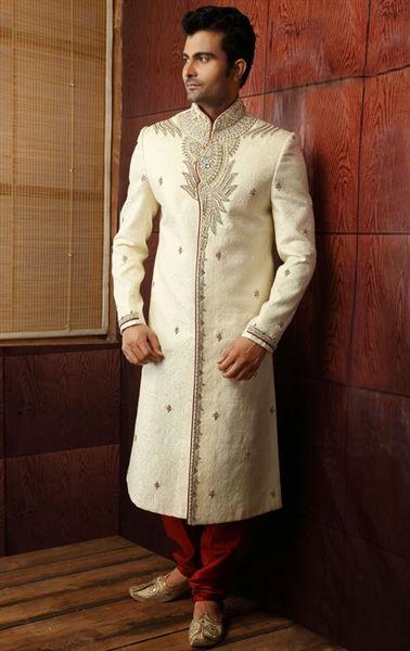 Picture of Dazzling Diva Buttercream Color Wedding Sherwani