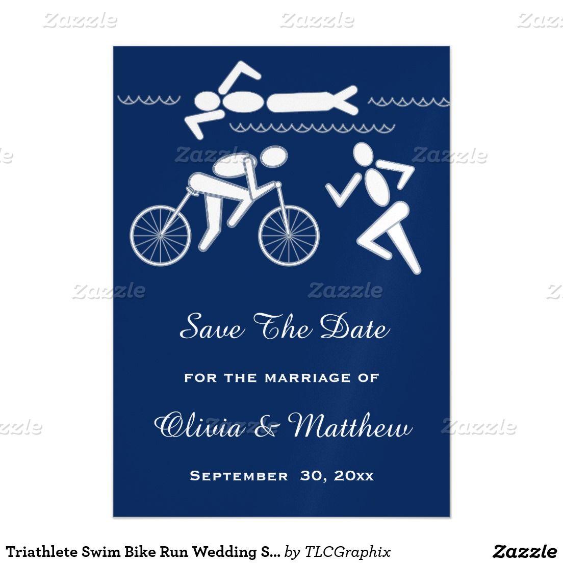 triathlete swim bike run wedding save the date magnetic invitation