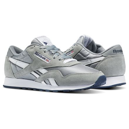 e9cce120b8c202 Reebok Men s Classic Nylon in Platinum   Blue Size 7.5 - Casual ...