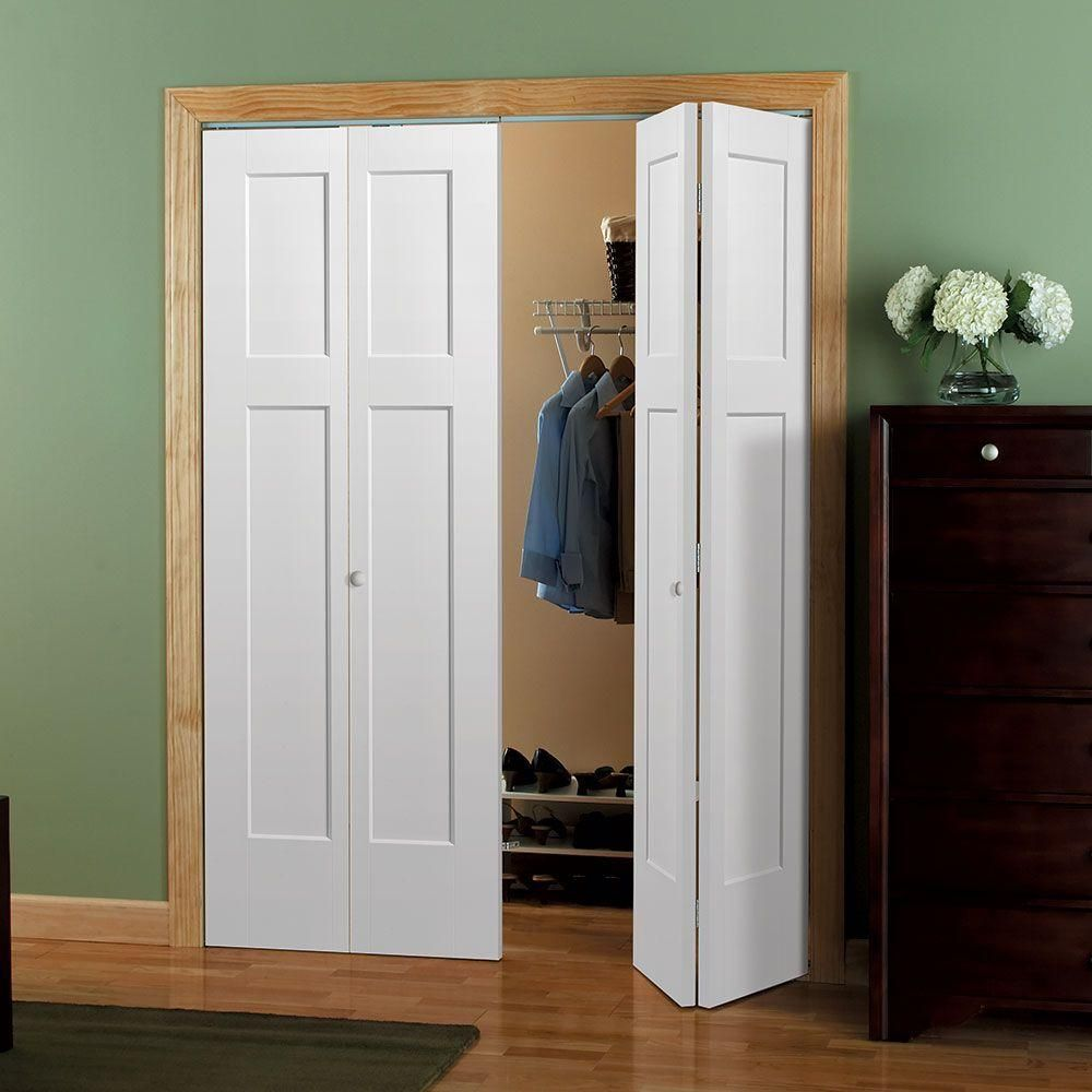 Masonite 30 In X 80 In Winslow 4 Panel Primed White Hollow Core Composite Bi Fold Interior Door 83199 The Home Depot In 2020 Bifold Closet Doors Bifold Doors Bifold Door Hardware