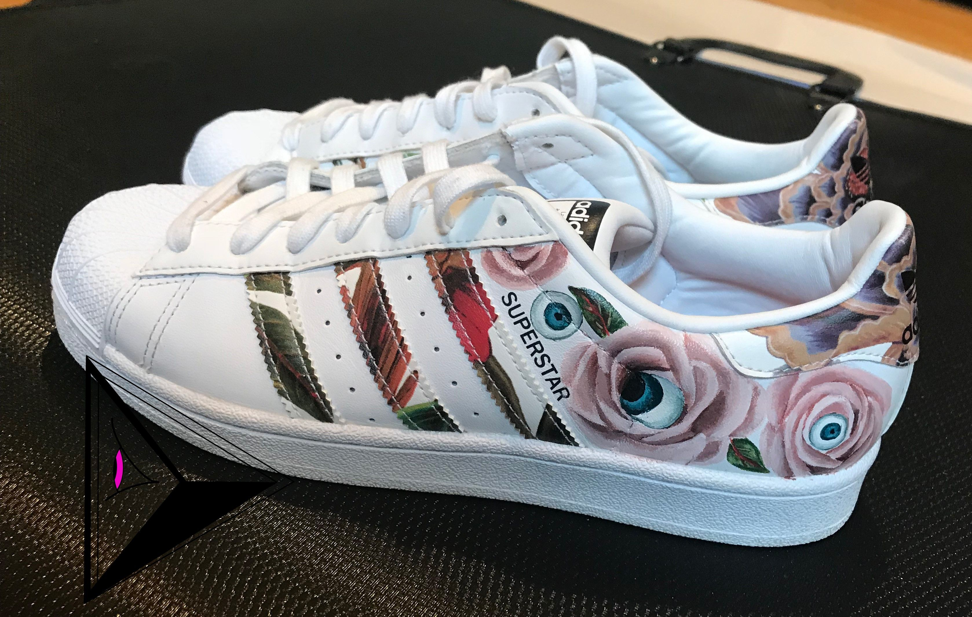 942550dde Custom Adidas superstar sneakers hand painted with roses with eyes in the  middle. Custom shoes