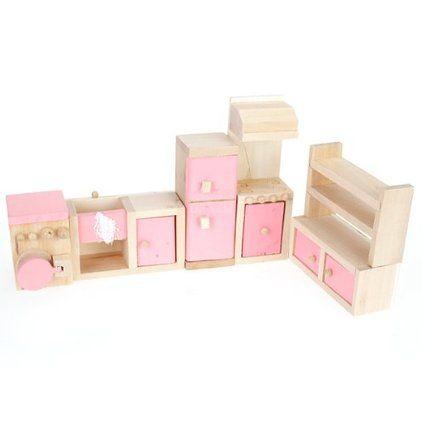 1/12 Dollhouse Mínimos Un Conjunto De Mueble De Cocina De Madera ...