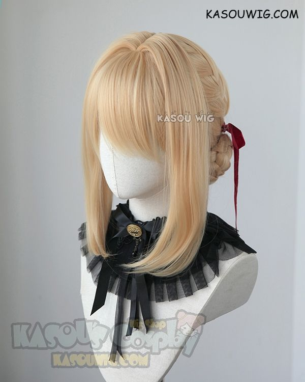 ( 2 options) Violet Evergarden blonde braided buns wig with red ribbon