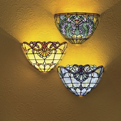 Beautiful Stained Glass Wireless Wall Sconce