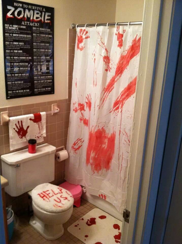 Zombie bathroom dream home pinterest more zombie for Halloween bathroom ideas