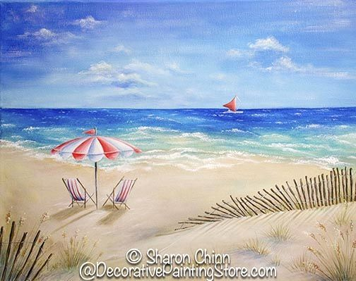 16x20 canvas painted with beach scene adirondack chairs