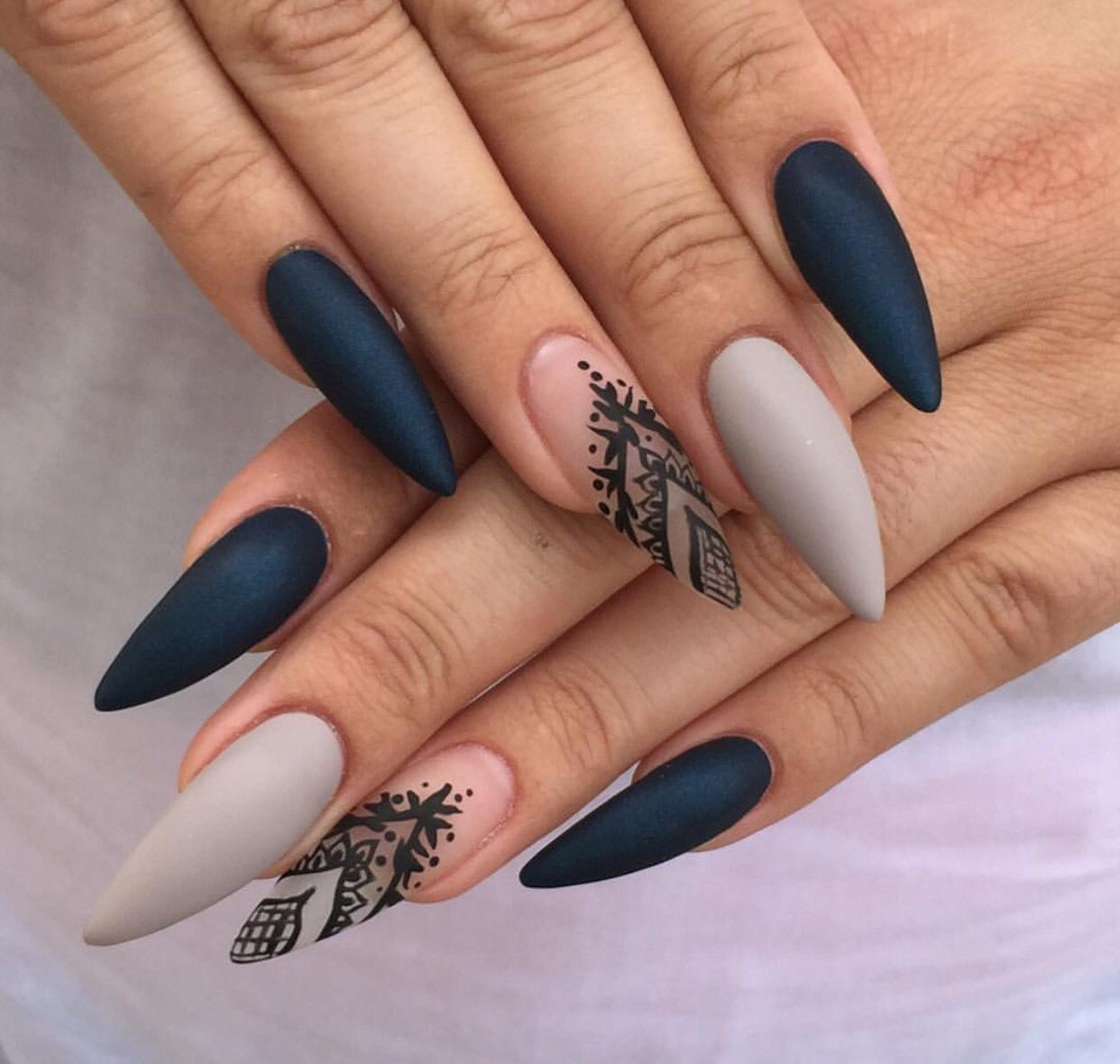 I Like The Design But Not Stilettos Acrylic Nails Coffin Mattegrey