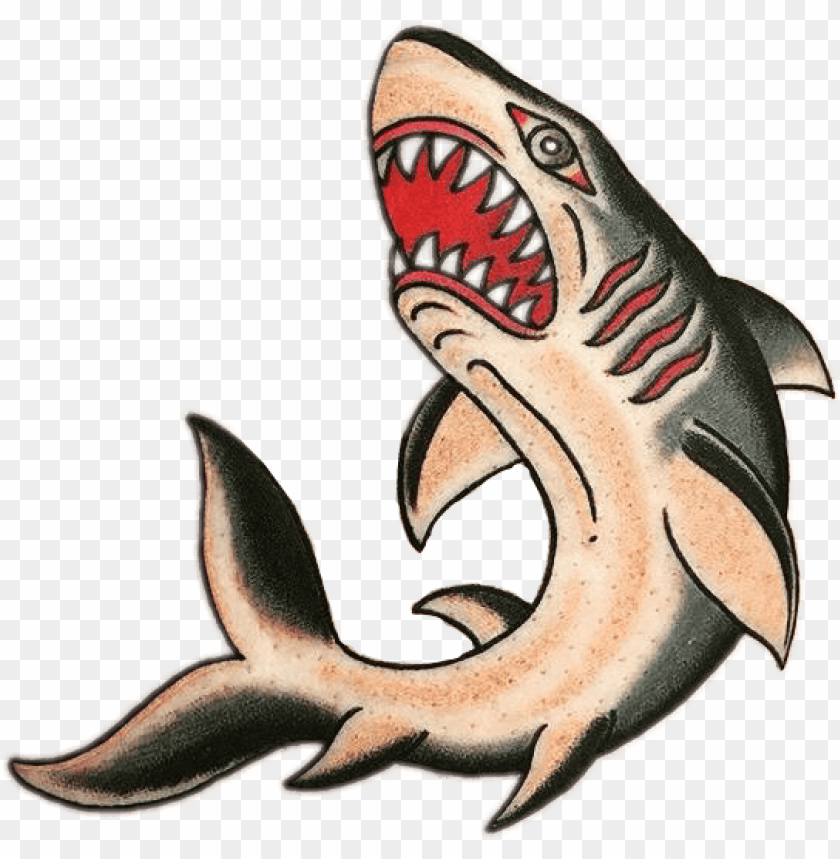 Shark Tattoo Traditional Shark Tattoo Old School Png Image With Transparent Background Png Free Png Images In 2020 Traditional Shark Tattoo Old School Tattoo Designs Traditional Tattoo Sleeve
