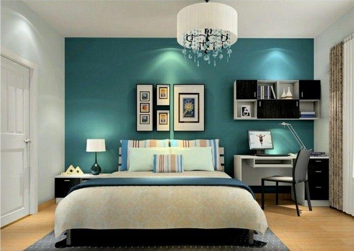 Wandfarbe Petrol Schlafzimmer Akzentwand Sm Pinterest - wandfarbe petrol