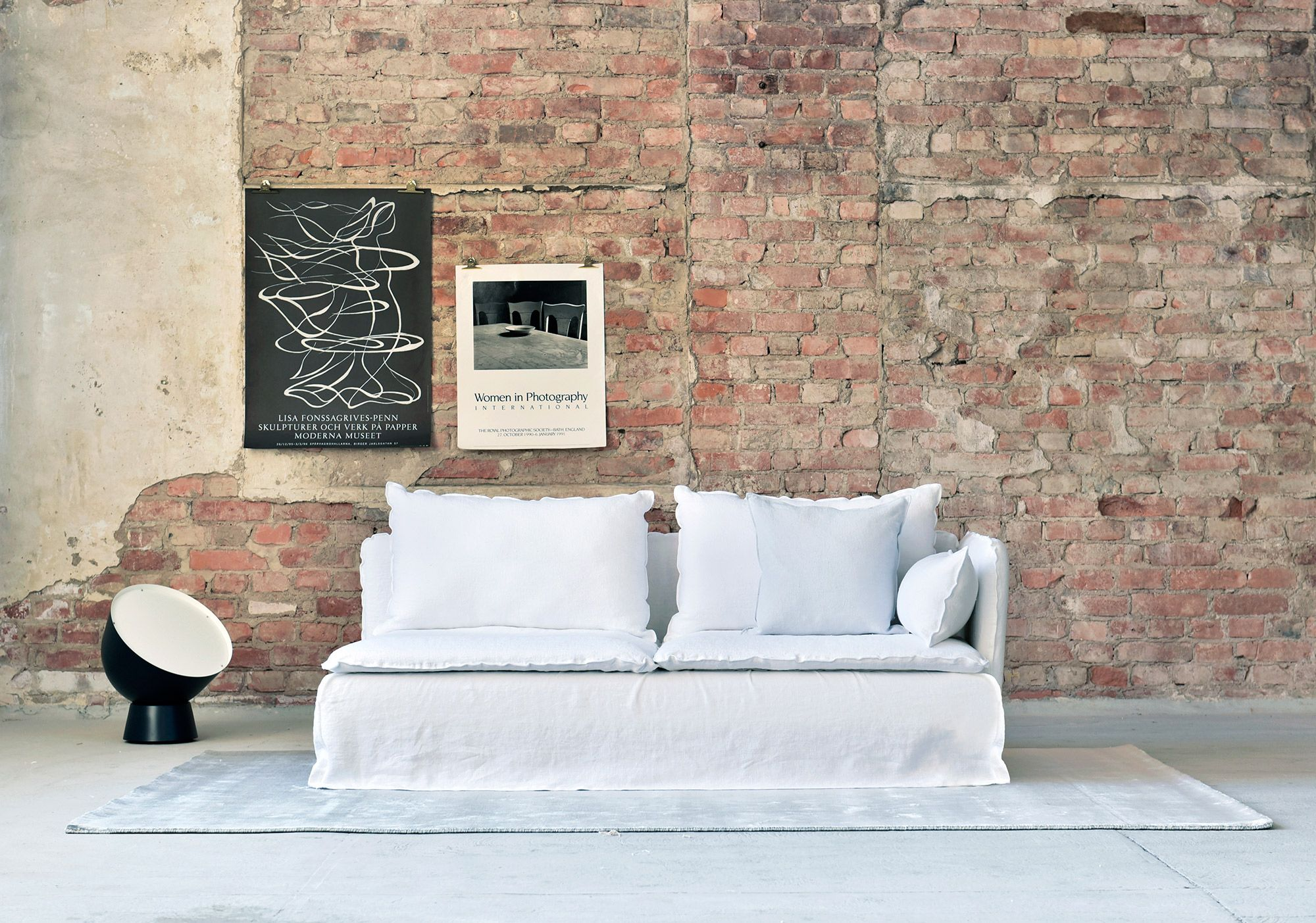 White Linen Sofa Red Brick Wall Modern Living Room Decor Ghost Gervasoni Sofa Ikea Soderhamn Sofa With A Bemz Loose Fit Cover I Canape Ikea Canape Ikea