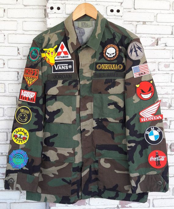 Patch Camo Jacket Hand Reworked Vintage Us Army Military Camo Jacket Camoflauge Jacket Vintage Army Jacket