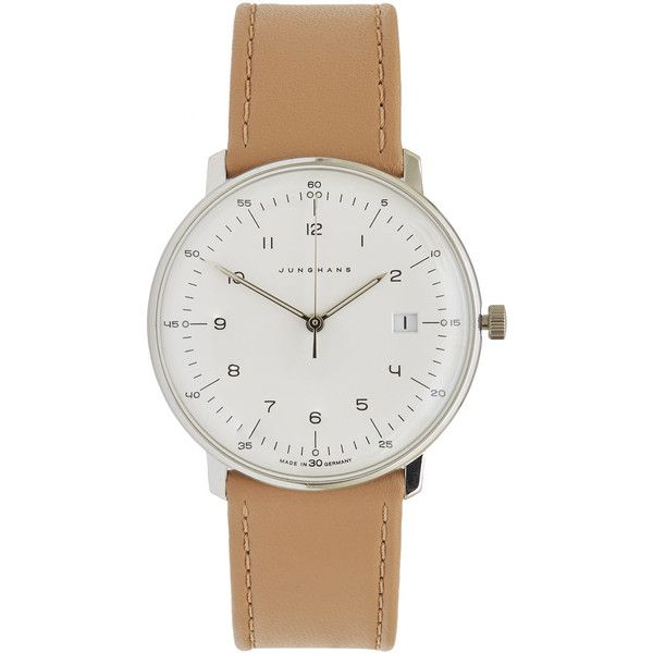 Beige Junghans Max Bill Quartz Watch (£475) ❤ liked on Polyvore featuring men's fashion, men's jewelry and men's watches