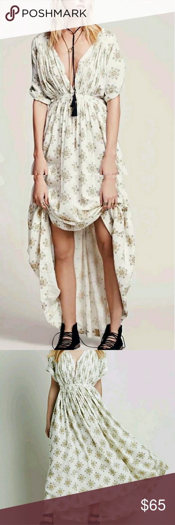 Free People Oasis Maxi Dress Beautiful ivory maxi with gold print, side ties adjust the waist, cuffed sleeves. Very flowy summer dress.  This is a 6 but because of how flowy it is and adjustable sides will fit up to L/XL. Free People Dresses Maxi