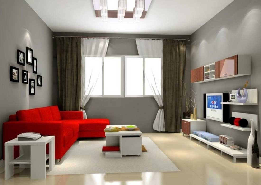 Cool Gray Living Room Color Ideas With White And Brown Window Curtains Furnished With Red Sofa An Living Room Color Modern Living Room Interior Living Room Red