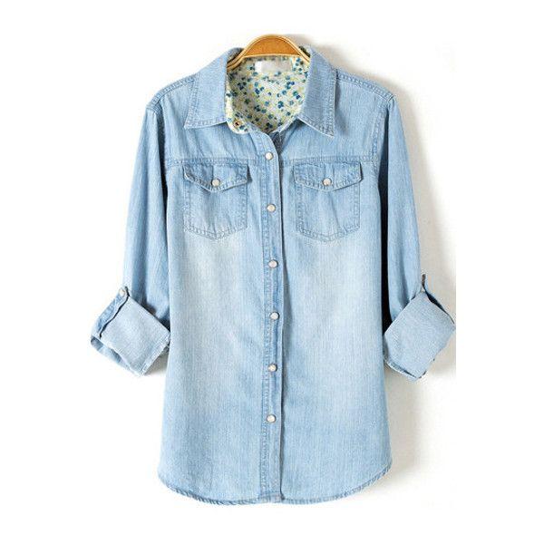 101e7c57621 SheIn(sheinside) Light Blue Lapel Long Sleeve Boyfriend Trends Jean ( 20) ❤  liked on Polyvore featuring tops