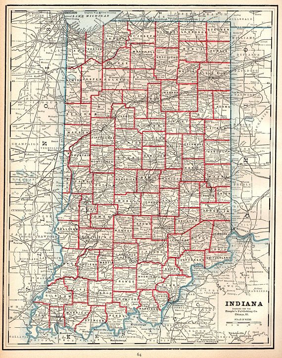1892 Antique INDIANA MAP of Indiana State Map Indiana Print | United ...