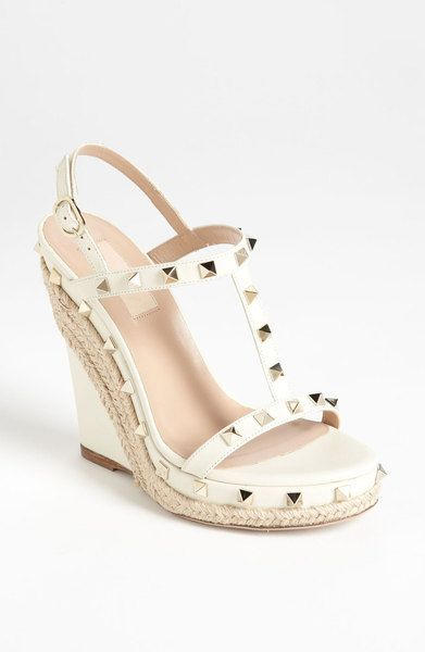 acb9ce0ed352 Simple and fun sandal. Want to put a flowy dress on and run to the beach. - Valentino  Rockstud Wedge Sandal