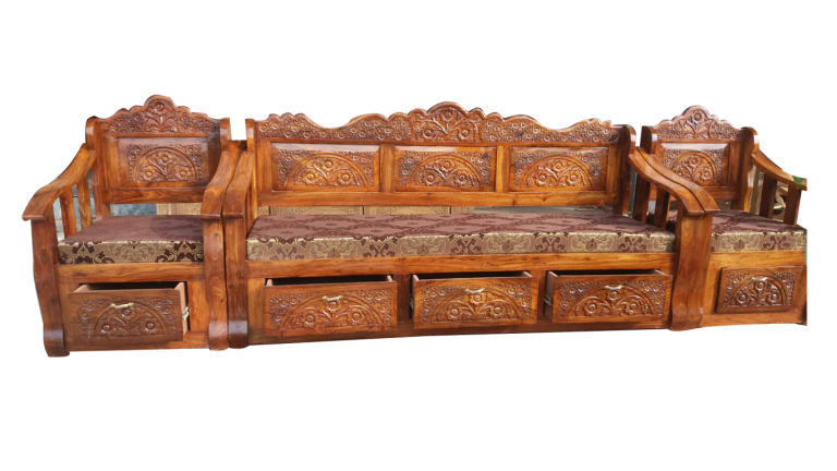 Solid Wood Sofa Set Designs With Pictures And Description Carved Wooden Furniture Sofa Set Designs Wood Sofa Sofa Set