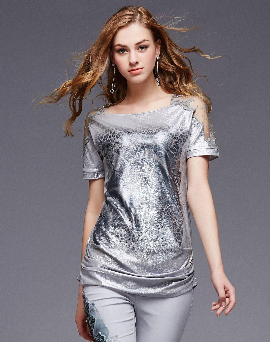 VIPme (VIPSHOP Global) - OMSER Gray Polyester Round Neck Mid-Length T-Shirt - AdoreWe.com