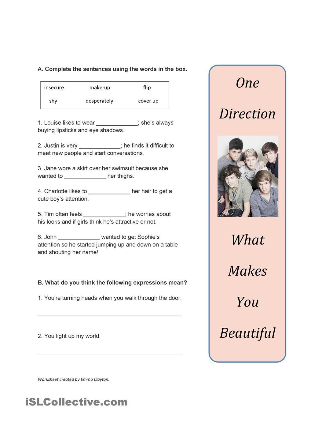B1 adjectives and adverbs song worksheet what makes you beautiful by one direction